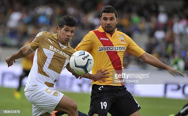 Robin Ramirez of Pumas vies for the ball in with Antonio Olvera of Morelia during their Mexican Apertura tournament football match on September 15...
