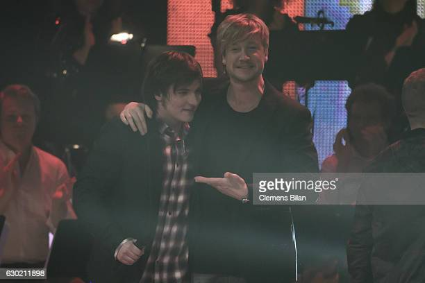 Robin Resch and Samu Haber celbrate during the first voting round at the ''The Voice Of Germany' Finals' on December 18 2016 in Berlin Germany