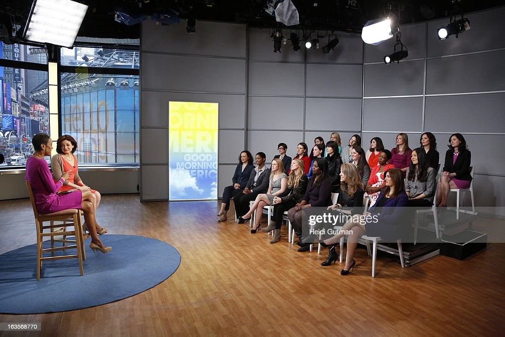 AMERICA - Robin Roberts and Chief Operating Officer of Facebook, Sheryl Sandberg, take questions from a group of women at GOOD MORNING AMERICA, which will air on TUESDAY, MARCH 12 (7-9am, ET) on the ABC Television Network. (Photo by Heidi Gutman/ABC via Getty Images) ROBIN ROBERTS, SHERYL SANDBERG, AUDIENCE