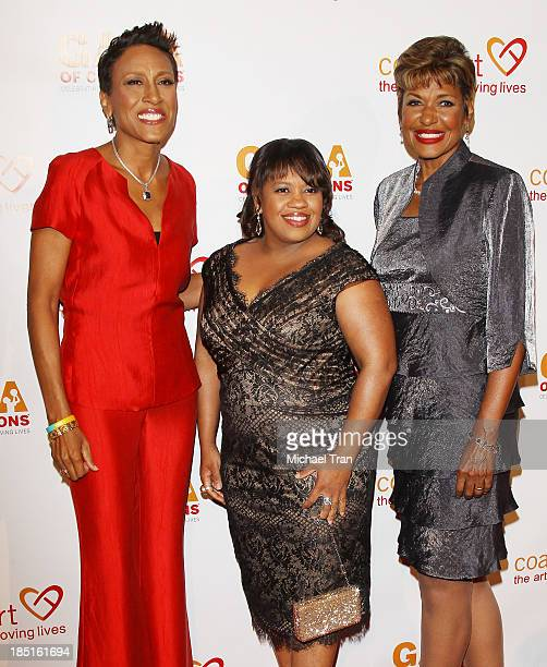 Robin Roberts Chandra Wilson and Sally Ann Roberts arrive at the CoachArt Gala of Champions held at The Beverly Hilton Hotel on October 17 2013 in...
