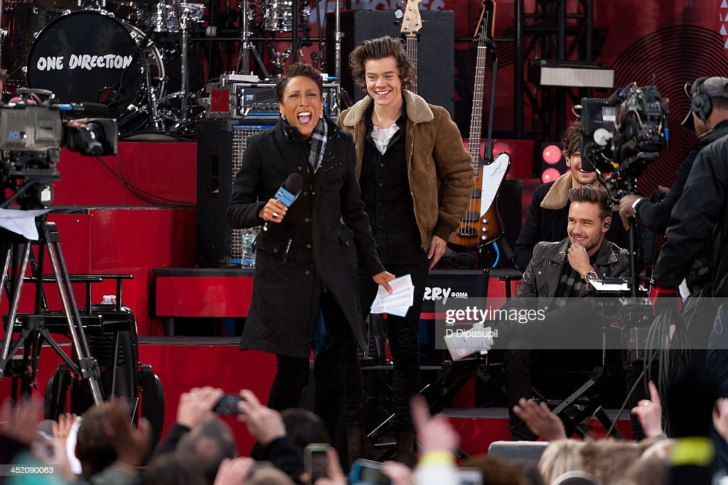 Robin Roberts interviews Harry Styles and Liam Payne of One Direction on ABC's 'Good Morning America' at Rumsey Playfield, Central Park on November 26, 2013 in New York City.