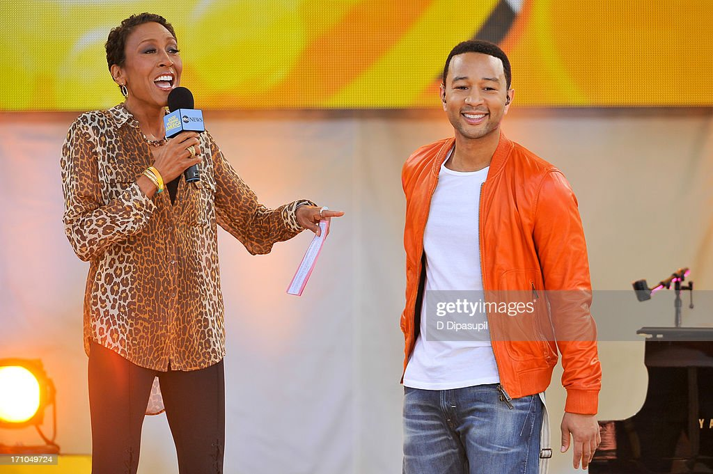 Robin Roberts (L) interviews <a gi-track='captionPersonalityLinkClicked' href=/galleries/search?phrase=John+Legend&family=editorial&specificpeople=201468 ng-click='$event.stopPropagation()'>John Legend</a> on ABC's 'Good Morning America' at Rumsey Playfield on June 21, 2013 in New York City.
