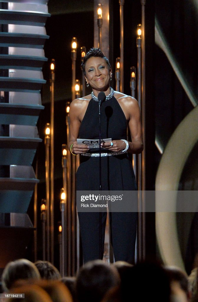 Robin Roberts speaks onstage during the 47th annual CMA awards at the Bridgestone Arena on November 6, 2013 in Nashville, United States.