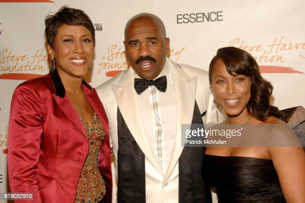 Robin Roberts Steve Harvey and Marjorie Harvey attend The 1st Annual STEVE HARVEY FOUNDATION Gala at Cipriani Wall Street on May 3 2010 in New York...