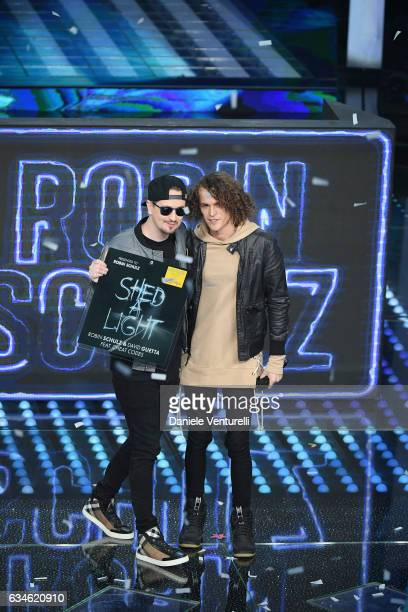 Robin Schulz and Cheat Codes attend the fourth night of the 67th Sanremo Festival 2017 at Teatro Ariston on February 10 2017 in Sanremo Italy