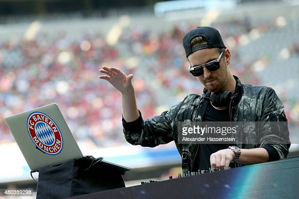 Robin Schulz performes during the FC Bayern Muenchen season opening and team presentation at Allianz Arena on July 11 2015 in Munich Germany