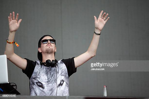Robin Schulz performs live on stage during the second day of the Lollapalooza Berlin music festival at Tempelhof Airport on September 13 2015 in...