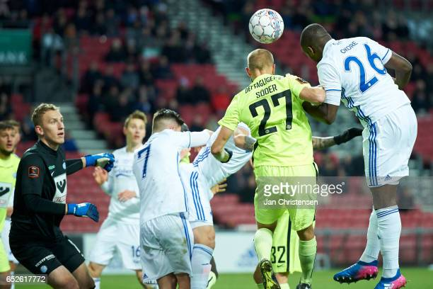 Robin Söder of Esbjerg fB and Jores Okore of FC Copenhagen heading the ball during the Danish Alka Superliga match between FC Copenhagen and Esbjerg...