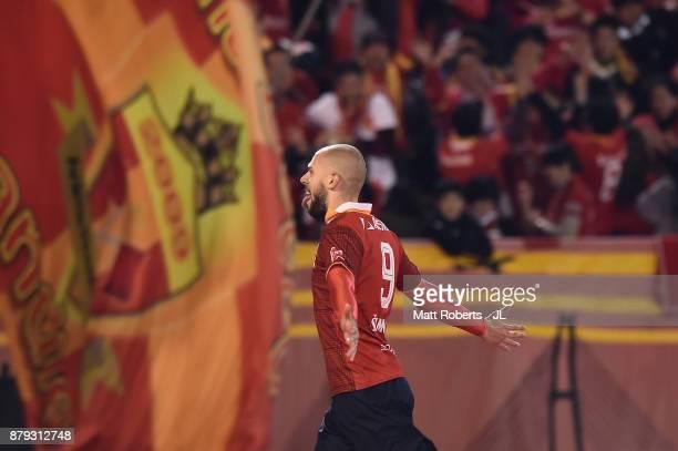 Robin Simovic of Nagoya Grampus celebrates scoring his side's second goal during the JLeague J1 Promotion PlayOff semi final match between Nagoya...