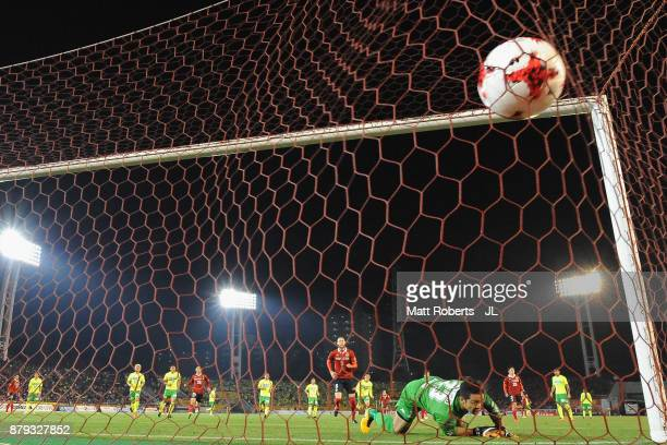 Robin Simovic of Nagoya Grampus converts the penalty to score his side's fourth and hat trick goal during the JLeague J1 Promotion PlayOff semi final...