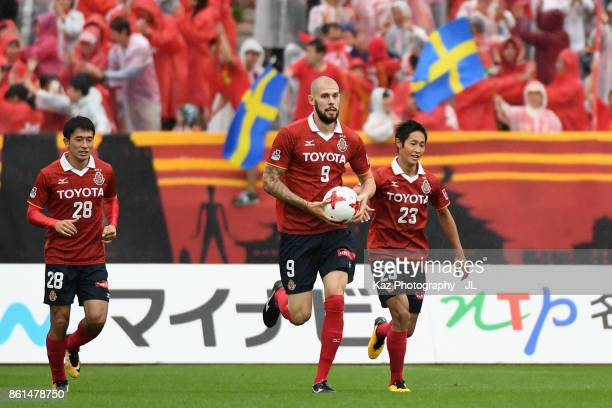 Robin Simovic of Nagoya Grampus reacts after scoring his side's second goal during the JLeague J2 match between Nagoya Grampus and Shonan Bellmare at...