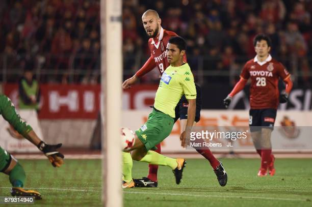 Robin Simovic of Nagoya Grampus scores his side's third goal during the JLeague J1 Promotion PlayOff semi final match between Nagoya Grampus and JEF...