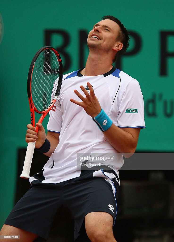 Robin Soderling of Sweden reacts during the men's singles quarter final match between Robin Soderling of Sweden and Roger Federer of Switzerland at the French Open on day ten of the French Open at Roland Garros on June 1, 2010 in Paris, France.