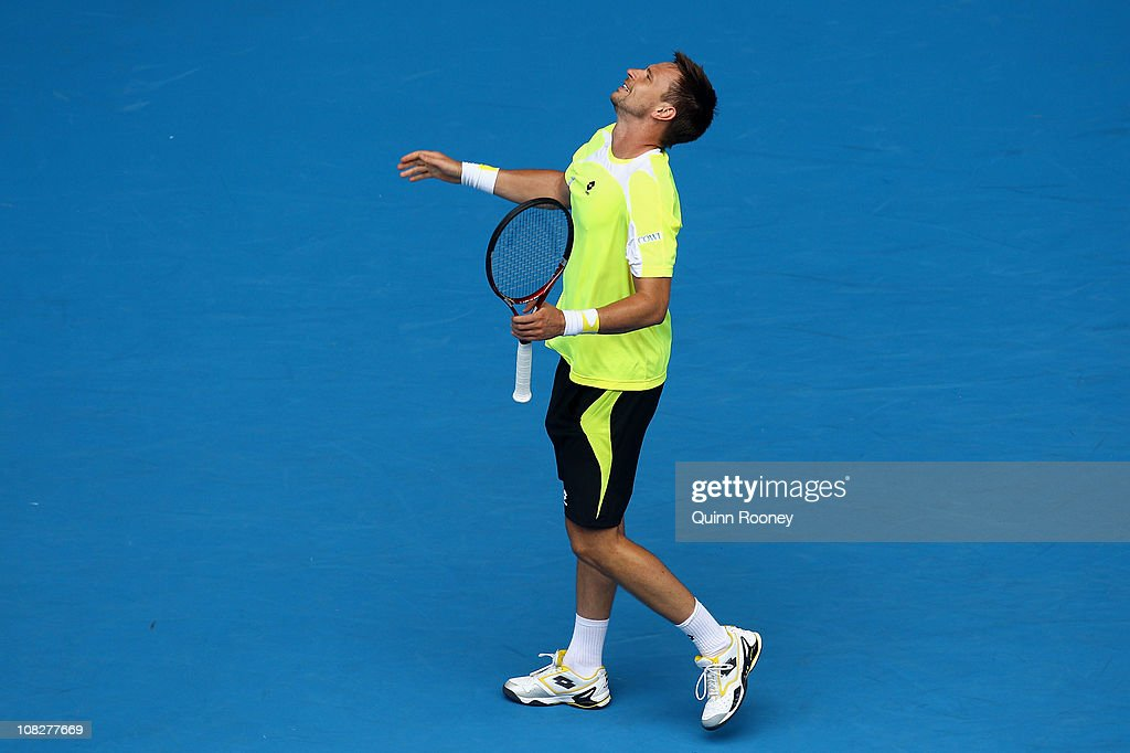 Robin Soderling of Sweden shows emotion in his fourth round match against Alexandr Dolgopolov of the Ukraine during day eight of the 2011 Australian Open at Melbourne Park on January 24, 2011 in Melbourne, Australia.