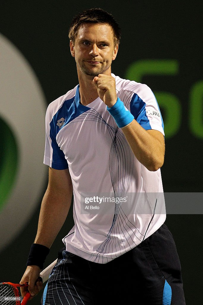 Robin Soderling of Switzerland reacts after defeating Mikhail Youzhny of Russia during day ten of the 2010 Sony Ericsson Open at Crandon Park Tennis Center on April 1, 2010 in Key Biscayne, Florida.