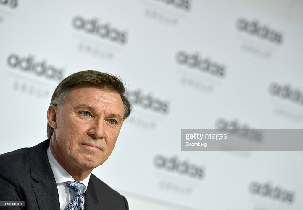 Robin Stalker chief financial officer of Adidas AG pauses during the company's earnings news conference in Herzogenaurach Germany on Thursday March 7...