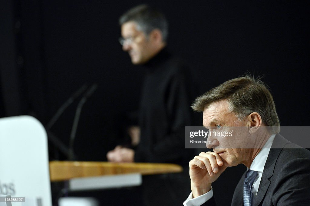Robin Stalker, chief financial officer of Adidas AG, right, listens as <a gi-track='captionPersonalityLinkClicked' href=/galleries/search?phrase=Herbert+Hainer&family=editorial&specificpeople=543915 ng-click='$event.stopPropagation()'>Herbert Hainer</a>, chief executive officer of Adidas AG, speaks during the company's earnings news conference in Herzogenaurach, Germany, on Thursday, March 7, 2013. Adidas AG, the world's second-largest sporting-goods maker, forecast higher sales and profit this year and raised its dividend by 35 percent as it targets fast-growing emerging markets and introduces new products. Photographer: Guenter Schiffmann/Bloomberg via Getty Images