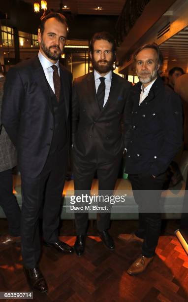 Robin Swithinbank Craig McGinlay and Marcus Wareing attend the launch of new men's magazine 'The Jackal' at Veneta on March 15 2017 in London England