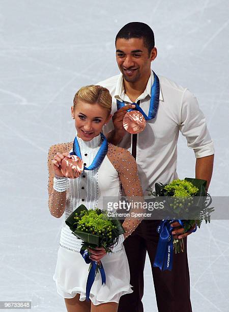 Robin Szolkowy and Aliona Savchenko of Germany win the bronze medal in the Figure Skating Pairs Free Program on day 4 of the Vancouver 2010 Winter...