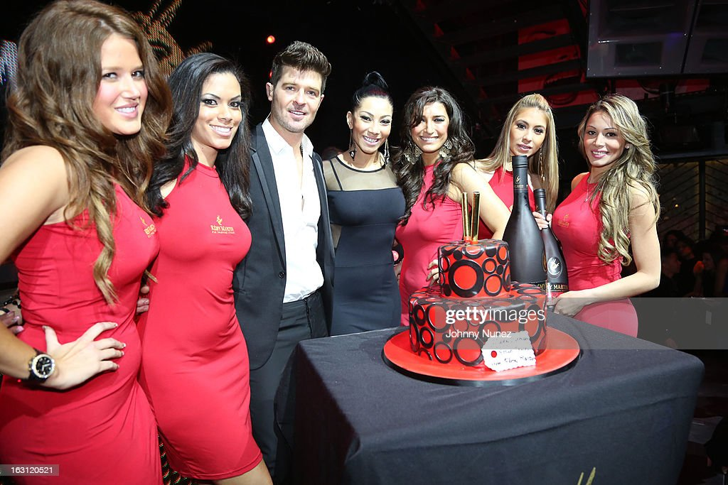 Robin Thicke (center left) and Bridget Kelly (center right) attend the Remy Martin V.S.O.P Ringleader Culmination Event with Robin Thicke at Marquee on March 4, 2013 in New York City.