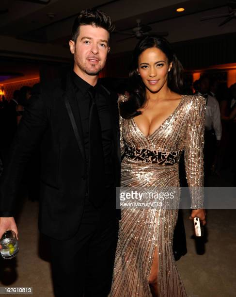 Robin Thicke and Paula Patton attend the 2013 Vanity Fair Oscar Party hosted by Graydon Carter at Sunset Tower on February 24 2013 in West Hollywood...