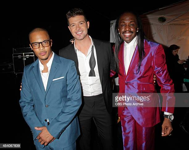 I Robin Thicke and Verdine White backstage during the THE GRAMMY NOMINATIONS CONCERT LIVE Ñ COUNTDOWN TO MUSIC'S BIGGEST NIGHT¨ broadcast Friday Dec...