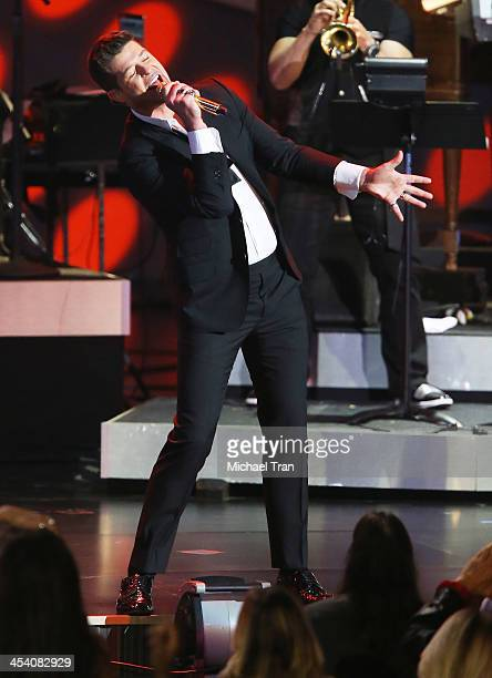 Robin Thicke performs at the GRAMMY Nominations Concert Live held at Nokia Theatre LA Live on December 6 2013 in Los Angeles California