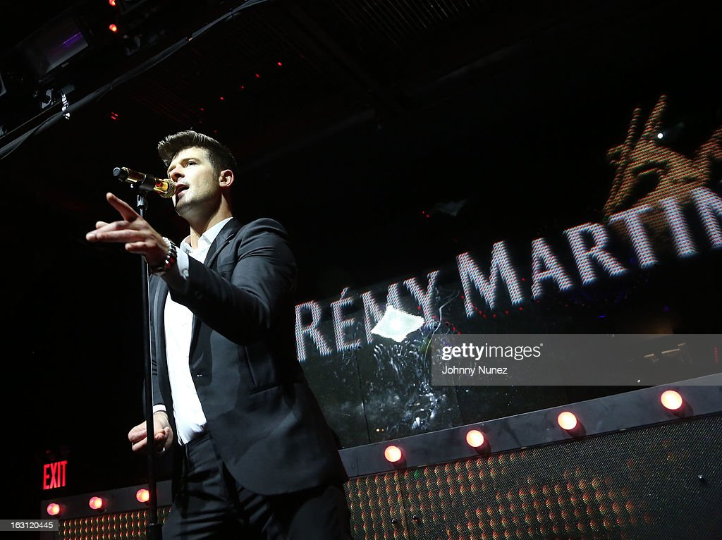 <a gi-track='captionPersonalityLinkClicked' href=/galleries/search?phrase=Robin+Thicke&family=editorial&specificpeople=724390 ng-click='$event.stopPropagation()'>Robin Thicke</a> performs at the Remy Martin V.S.O.P Ringleader Culmination Event with <a gi-track='captionPersonalityLinkClicked' href=/galleries/search?phrase=Robin+Thicke&family=editorial&specificpeople=724390 ng-click='$event.stopPropagation()'>Robin Thicke</a> at Marquee on March 4, 2013 in New York City.