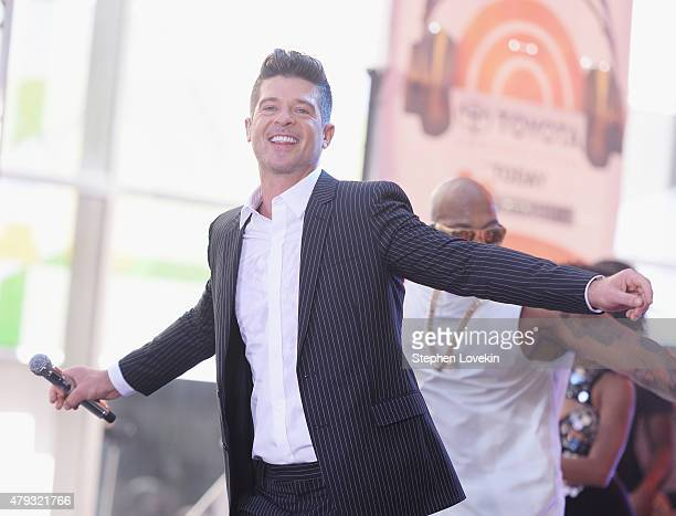 Robin Thicke performs on NBC's 'Today' at Rockefeller Plaza on July 3 2015 in New York City