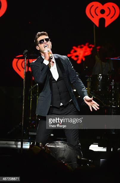 Robin Thicke performs onstage during Hot 995's Jingle Ball 2013 presented by Overstockcom at Verizon Center on December 16 2013 in Washington DC