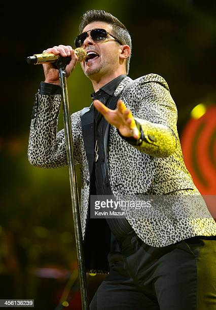 Robin Thicke performs onstage during Z100's Jingle Ball 2013 presented by Aeropostale Madison Square Garden on December 13 2013 in New York City