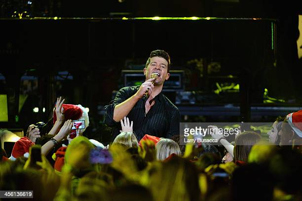 Robin Thicke performs onstage during Z100's Jingle Ball 2013 presented by Aeropostale at Madison Square Garden on December 13 2013 in New York City