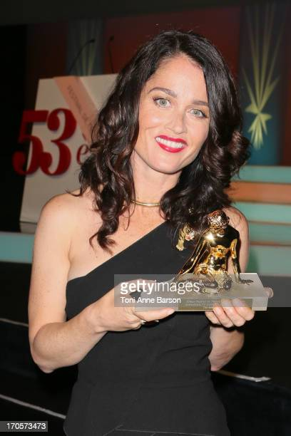 Robin Tunney receives the Best Drama TV Series Award during the closing ceremony of the 53rd Monte Carlo TV Festival on June 13 2013 in MonteCarlo...