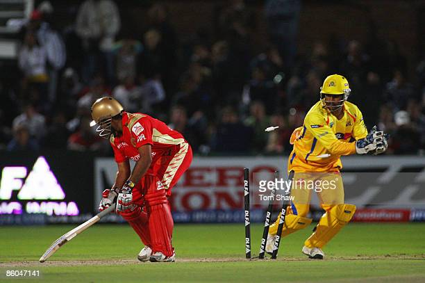 Robin Uthappa of Bangalore is stumped by Mahendra Singh Dhoni of Chennai during IPL T20 match between Chennai Super Kings and Royal Challengers...