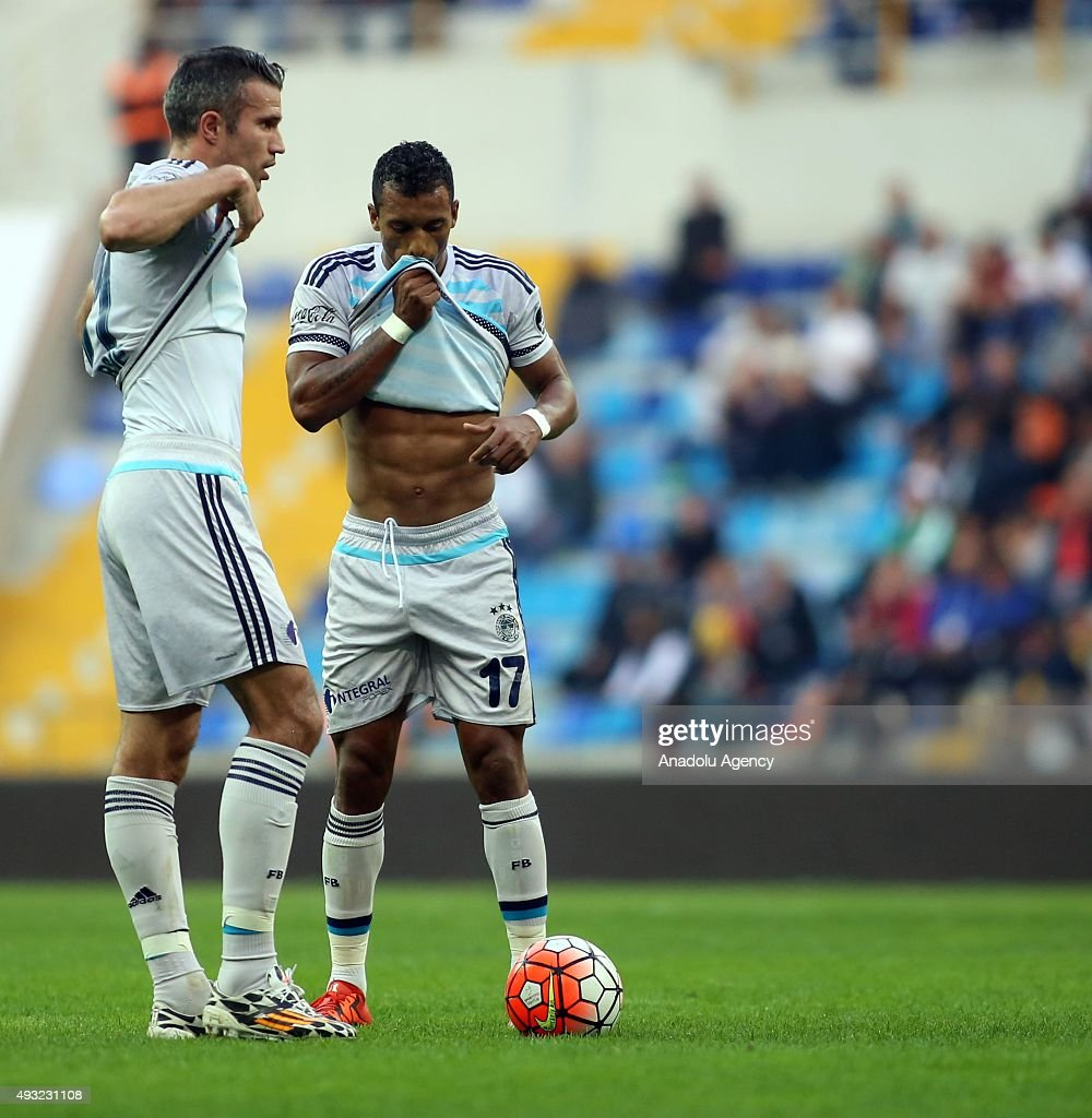 Robin Van Persie and Luis Nani of Fenerbahce in action during the Turkish Spor Toto Super League football match between Kayserispor and Fenerbahce at...