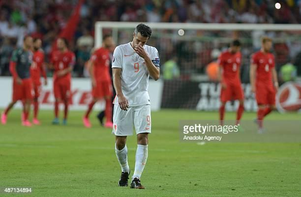 Robin van Persie gestures during the European Qualifiers 2016 match between Turkey and Netherlands at Torku Arena in Konya Turkey on September 6 2015