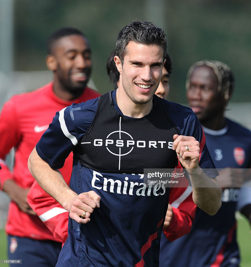 Robin van Persie of Arsenal during a training session at London Colney on March 23, 2012 in St Albans, England.