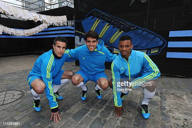 Robin Van Persie of Arsenal Kaka of Real Madrid and Nani of Manchester United attend the launch of the new adidas Predator boot at the Truman Brewery...