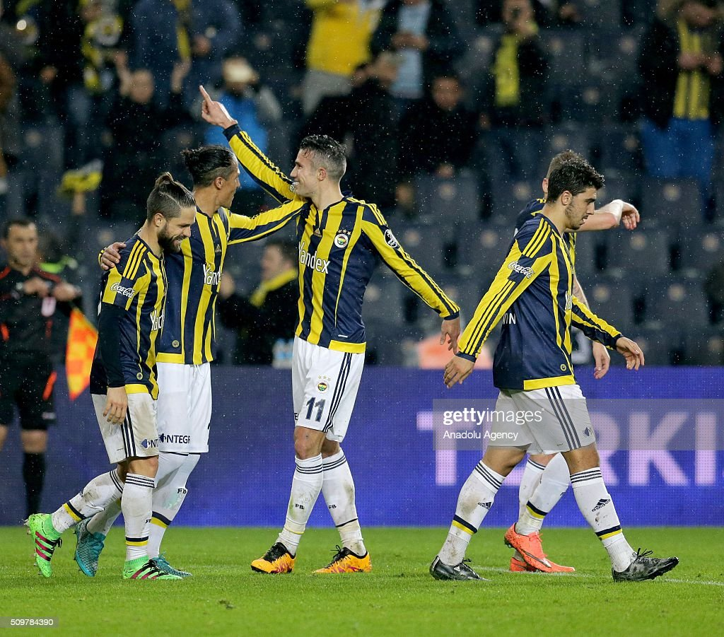 Robin Van Persie (L 3) of Fenerbahce celebrates after scoring a goal during Turkish Spor Toto Super Lig football match between Fenerbahce and Kasimpasa at Fenerbahce Sukru Saracoglu Sports Complex in Istanbul, Turkey on February 12, 2016