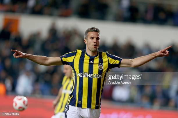 Robin Van Persie of Fenerbahce celebrates after scoring a goal during the Ziraat Turkish Cup semi final soccer match between Medipol Basaksehir and...