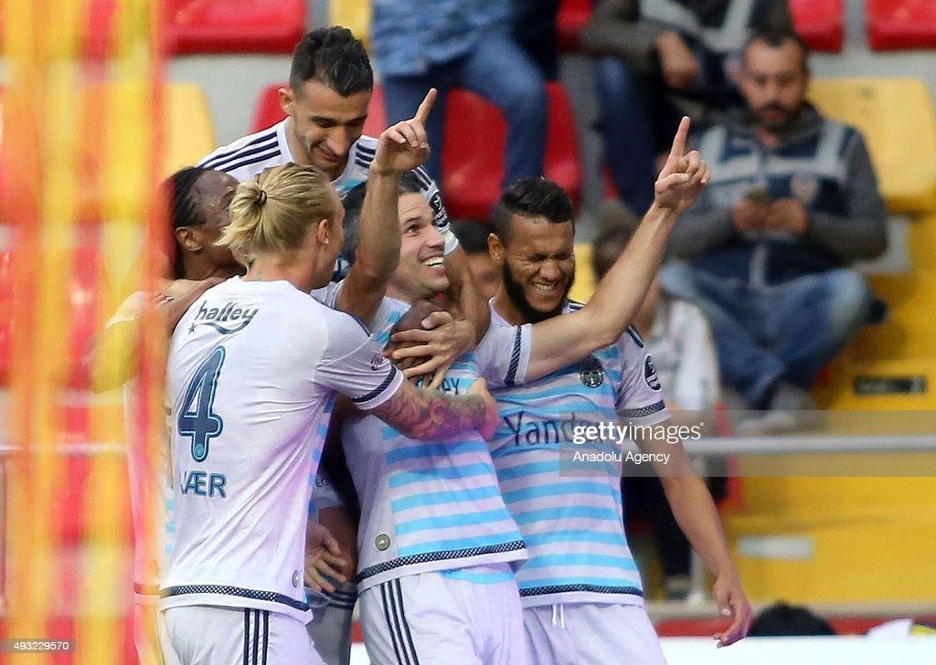 Robin Van Persie of Fenerbahce celebrates after scoring during the Turkish Spor Toto Super League football match between Kayserispor and Fenerbahce...