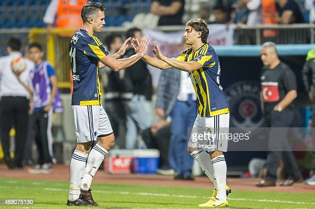 Robin van Persie of Fenerbahce Lazar Markovic of Fenerbahce during the Super Lig match between Kasimpasa SK and Fenerbahce on September 13 2015 at...