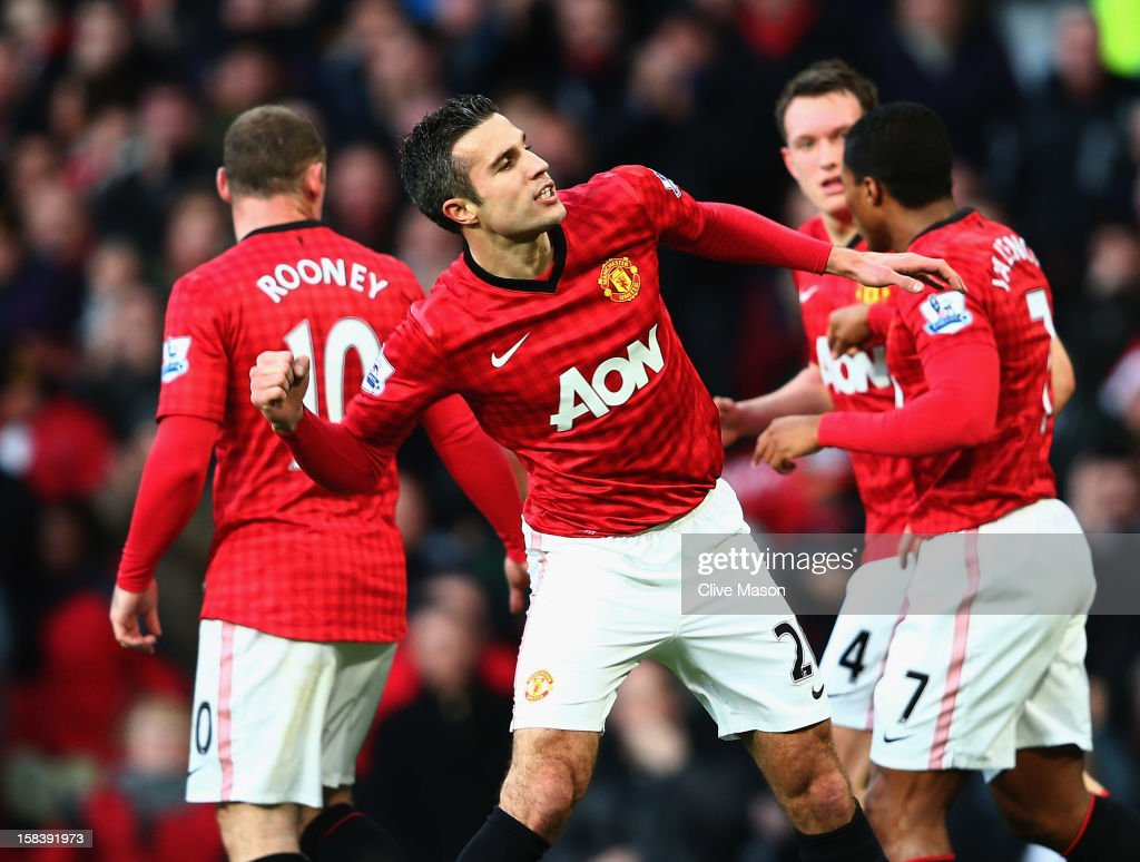 Robin van Persie of Manchester United celebrates his goal during the Barclays Premier League match between Manchester United and Sunderland at Old Trafford on December 15, 2012 in Manchester, England.