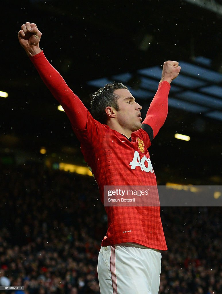 Robin van Persie of Manchester United celebrates scoring his team's second goal during the Barclays Premier League match between Manchester United and Everton at Old Trafford on February 10, 2013 in Manchester, England.