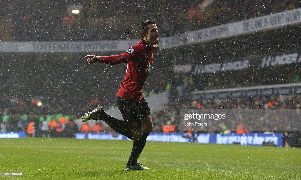 <a gi-track='captionPersonalityLinkClicked' href=/galleries/search?phrase=Robin+van+Persie&family=editorial&specificpeople=214179 ng-click='$event.stopPropagation()'>Robin van Persie</a> of Manchester United celebrates scoring their first goal during the Barclays Premier League match between Tottenham Hotspur and Manchester United at White Hart Lane on January 20, 2013 in London, England.