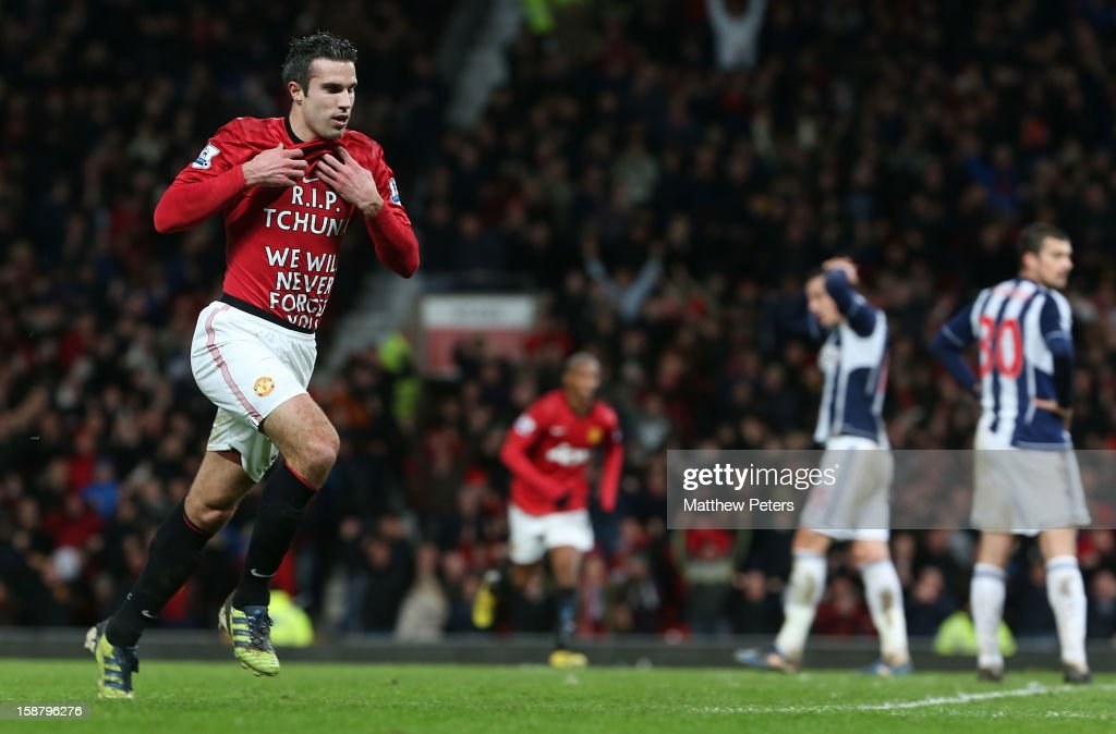 Robin van Persie of Manchester United celebrates scoring their second goal during the Barclays Premier League match between Manchester United and West Bromwich Albion at Old Trafford on December 29, 2012 in Manchester, England.