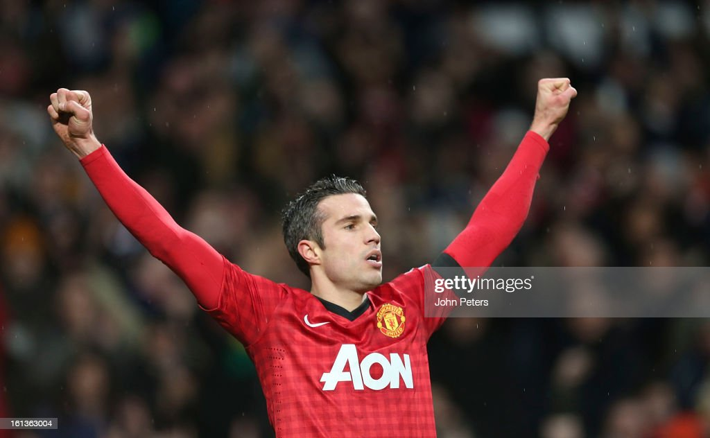 Robin van Persie of Manchester United celebrates scoring their second goal during the Barclays Premier League match between Manchester United and Everton at Old Trafford on February 10, 2013 in Manchester, England.