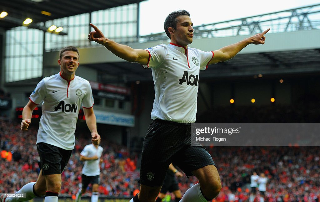 <a gi-track='captionPersonalityLinkClicked' href=/galleries/search?phrase=Robin+Van+Persie&family=editorial&specificpeople=214179 ng-click='$event.stopPropagation()'>Robin Van Persie</a> of Manchester United celebrates scoring to make it 2-1 during the Barclays Premier League match between Liverpool and Manchester United at Anfield on September 23, 2012 in Liverpool, England.