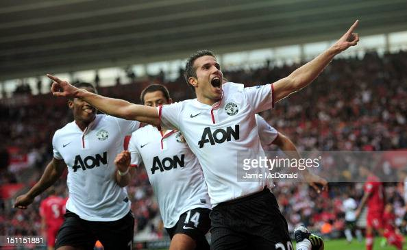 Robin Van Persie of Manchester United celebrates the winning goal during the Barclays Premier League match between Southampton and Manchestrer United...
