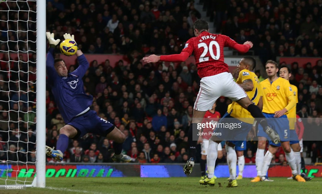 Robin van Persie of Manchester United has a header saved by <a gi-track='captionPersonalityLinkClicked' href=/galleries/search?phrase=Artur+Boruc&family=editorial&specificpeople=554761 ng-click='$event.stopPropagation()'>Artur Boruc</a> of Southampton during the Barclays Premier League match between Manchester United and Southampton at Old Trafford on January 30, 2013 in Manchester, England.